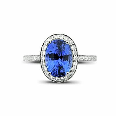 Oval Sapphire & Diamond Cluster Ring - 2.50ct